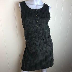 L.L. Bean Green Plaid Modest Corduroy Dress